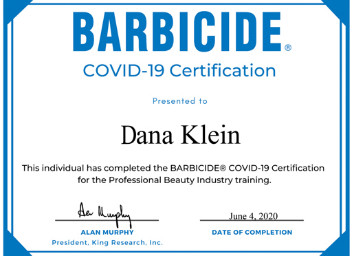 BARBICIDE Covid-19 Health and Safety certificate